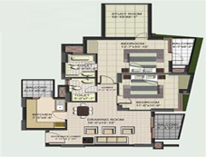 Floor Plan of 2 BHK of BPTP Princess Park Flats in Faridabad