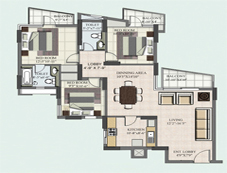 Floor Plan of 3 BHK of BPTP Princess Park Flats in Faridabad
