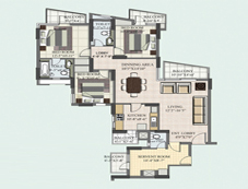 Floor Plan of 3+1 BHK of BPTP Princess Park Flats in Faridabad